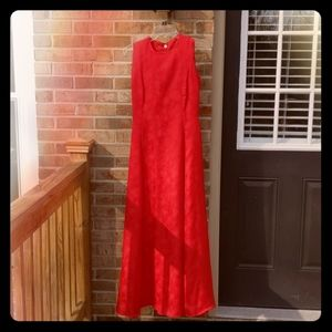 Beautiful floor length red dress.